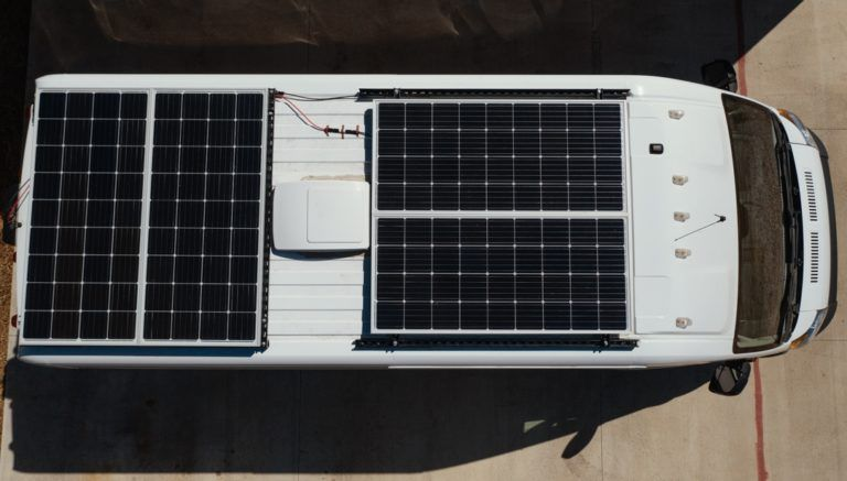 Diy unistrut solar panel roof rack fit 800 watts on a