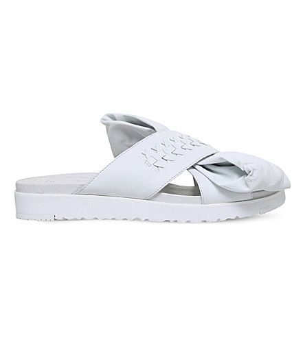 Cheap Ugg White Ugg X Preen Raven Bow-Detail Leather Sandals for Women Online Sale
