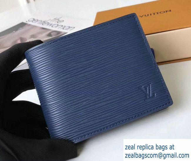 f87a81217e37 Louis Vuitton Amerigo Wallet Epi Leather Blue 2017