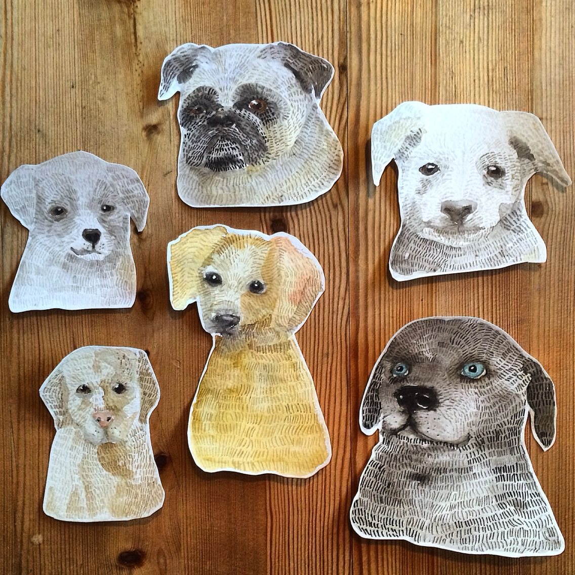 Watercolor dogs  watercolour - Ingjerd Tufto