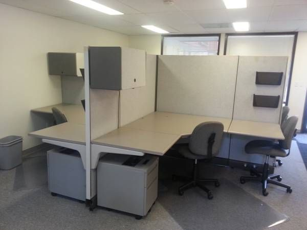 Includes 4 Cubicles, Under Drawer File Cabinet On Wheels, Overhead Storage  With Light,