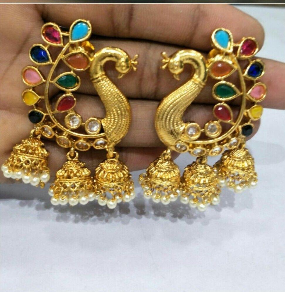 New Indian Asian Bridal Jewellery Bollywood Ethnic Wear Wedding Polki Earrings