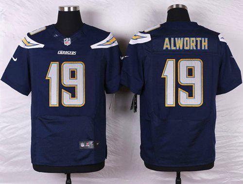 Men's San Diego Chargers #19 Lance Alworth Navy Blue Team Color NFL Nike Elite Jersey