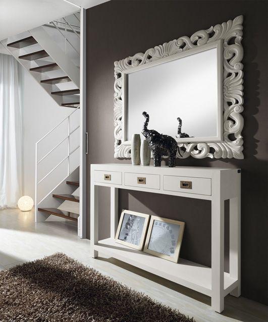 Espejos de madera de estilo moderno new white recibidores for Espejos hall entrada