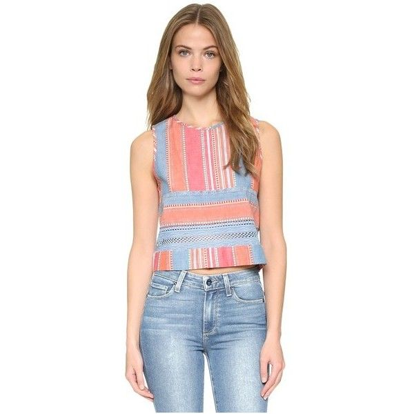 dRA Salma Top ($70) ❤ liked on Polyvore featuring tops, marketplace stripe, blue lace top, stripe top, keyhole top, sleeveless crop top and blue top