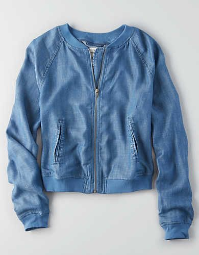 6f9a8c3fb AEO Chambray Bomber Jacket , Indigo | American Eagle Outfitters ...