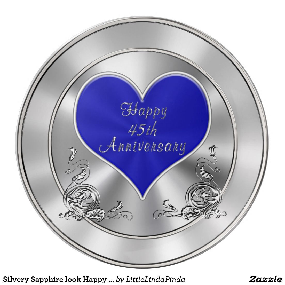 Silvery Sapphire look Happy 45th Anniversary Gifts Dinner
