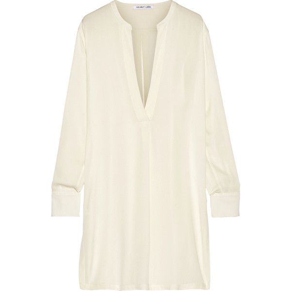 Helmut Lang Stretch-silk tunic (1.685 BRL) ❤ liked on Polyvore featuring tops, tunics, dresses, white, helmut lang top, oversized tops, oversized white top, white tunic and helmut lang tunic