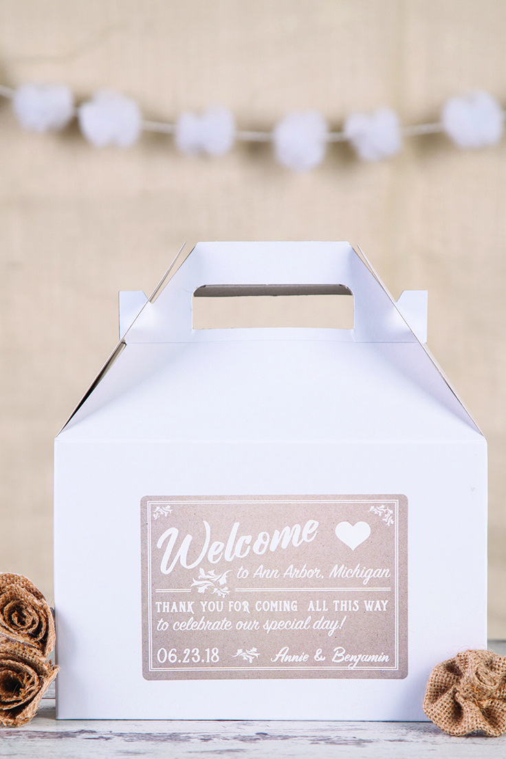 Your out of town guests will love a welcome box in their hotel room ...
