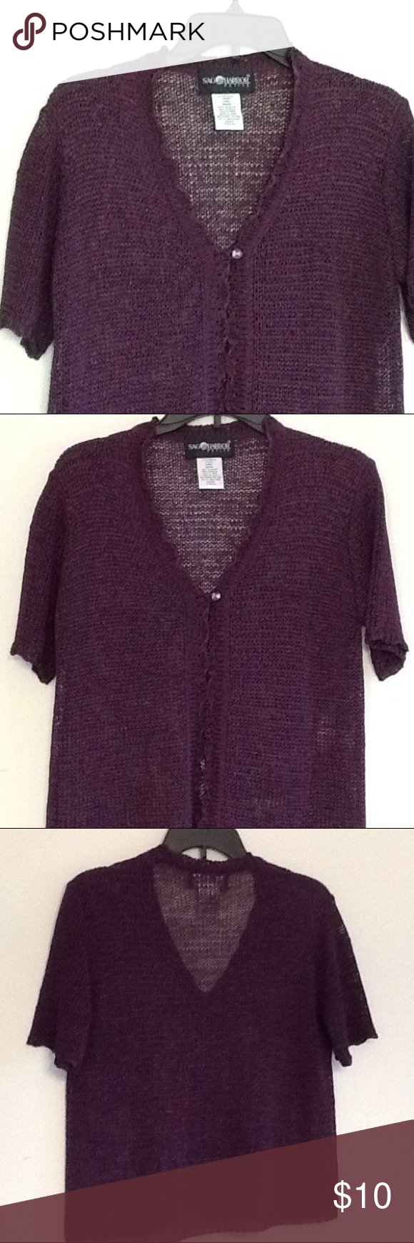 SAG HARBOR. Crocheted cardigan sweater SAG HARBOR. Crocheted short sleeve cardigan sweater. One button closure, like new, never worn but tags were removed. Eggplant color. Sag Harbor Sweaters Cardigans