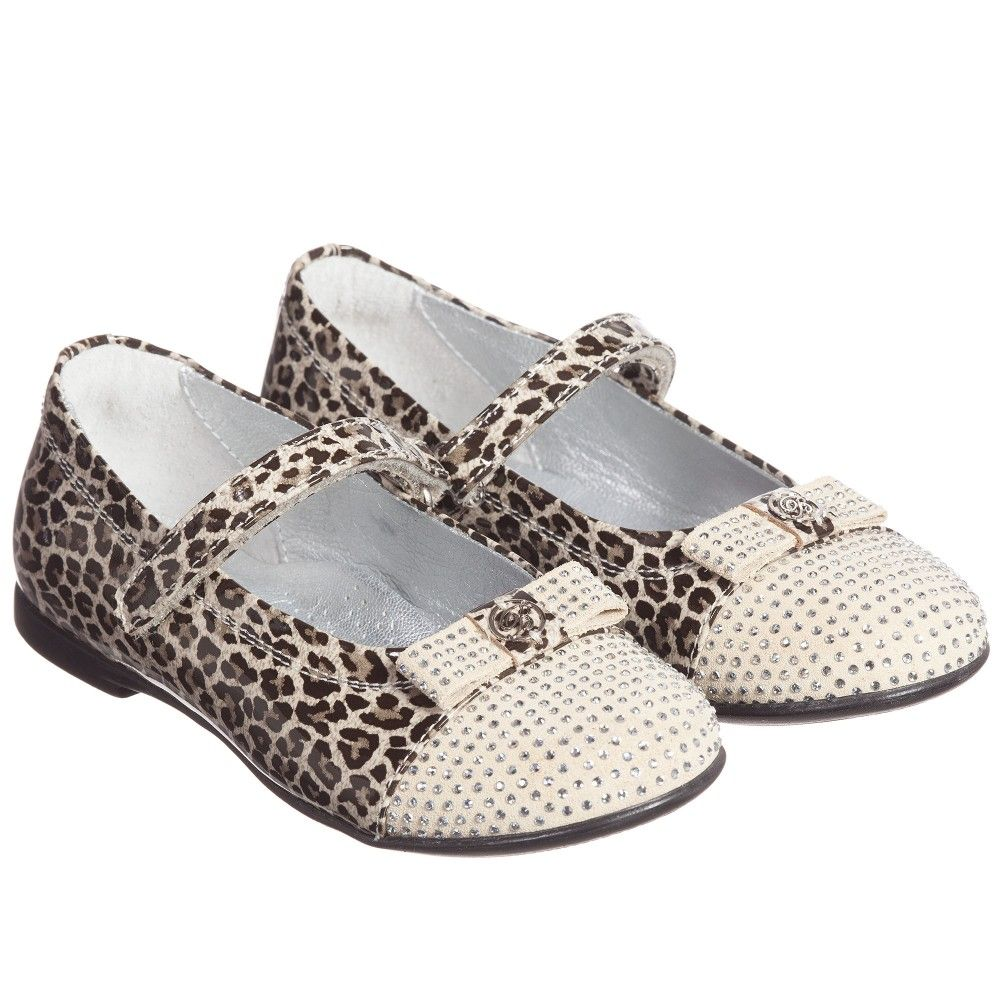 57933264876081 Girls Leopard Print Leather & Velcro Shoes , Miss Blumarine, Girl ...