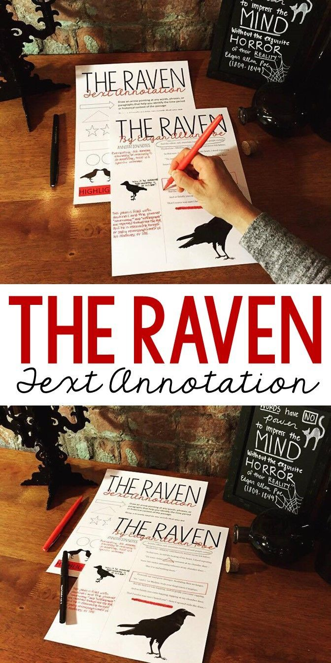 The Raven By Edgar Allan Poe Text Annotation Activity Grade 6 12 Teaching Literature Middle School Reading Lessons Poem Annotated