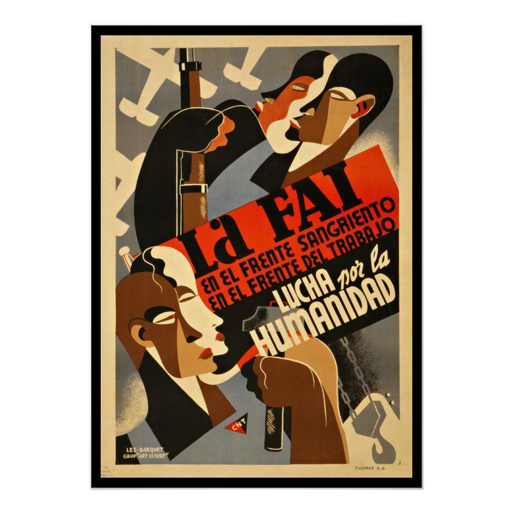 Vintage Anarchist Propaganda Poster 1930s Spanish Revolution Civil War