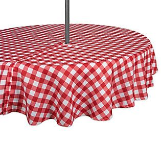 Design Imports Check Outdoor Tablecloth W Zipper 52 Round Qvc
