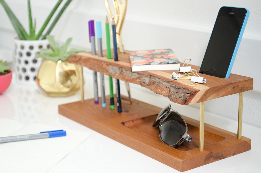 Make It Modern Wooden Diy Desk Organizer Desk Organization Diy Wooden Diy Wooden Desk Organizer