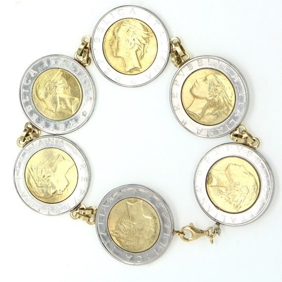 Vintage 14 Karat Gold Italian Lira Coin Charm Bracelet Estate Currency Jewelry