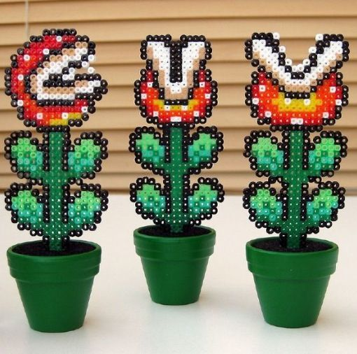 Super Mario plants petrler beads by Eva Krijnen
