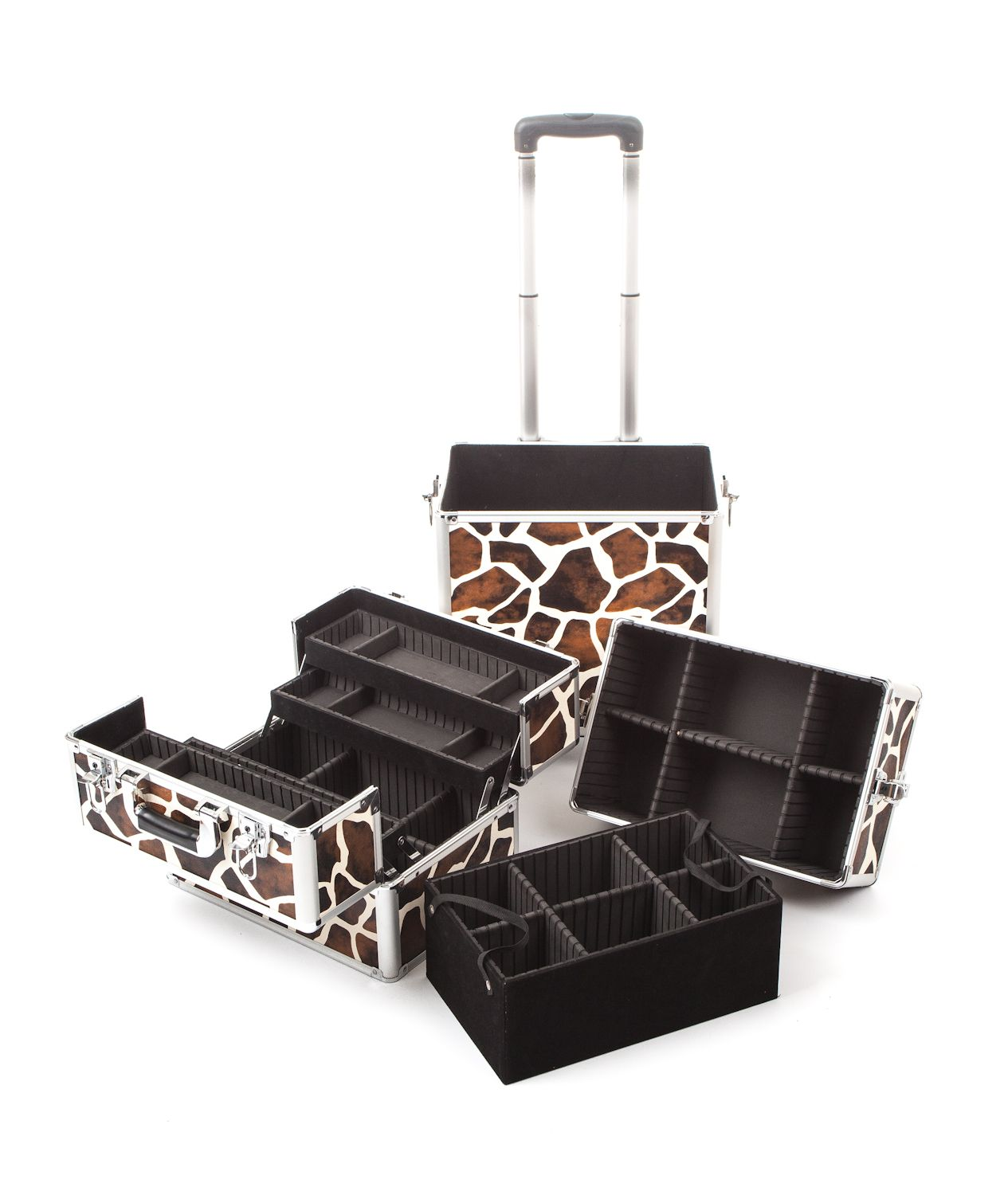 The Urbanity Classic Giraffe Animal Print Beauty Trolley is perfect for professional mobile beauticians, nail technicians and hairdressers.  It breaks down so you can custom build it to suit your own needs.  With lots of seperate compartments, it's the perfect beauty storage solution!