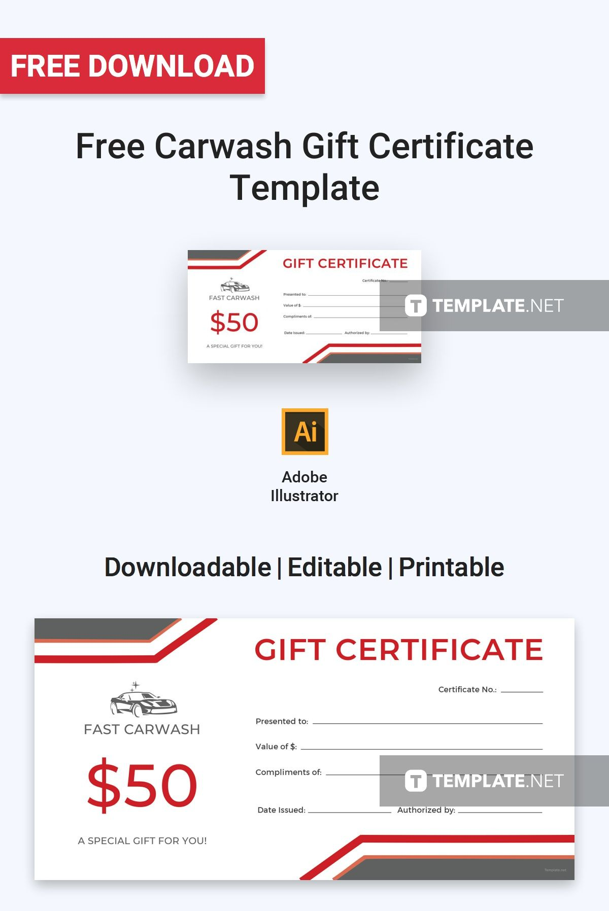 Free Carwash Gift Certificate Template Pdf Word Psd Apple Pages Google Docs Illustrator Publisher Printable Gift Certificate Gift Card Template Gift Certificate Template
