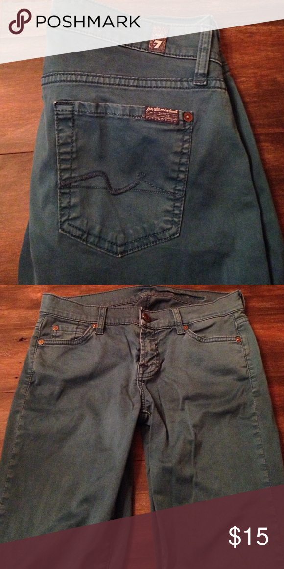 Blue 7s Gee every. Dark real color 7 for all man kind. Interesting chino-like material. Cool versatile piece. Lots of wear left. 7 For All Mankind Jeans Skinny