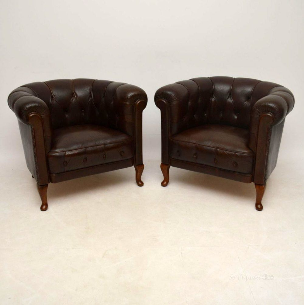 Pair Of Antique Swedish Leather Armchairs - Antiques Atlas  #AntiqueFurnitureForSale - Pair Of Antique Swedish Leather Armchairs - Antiques Atlas