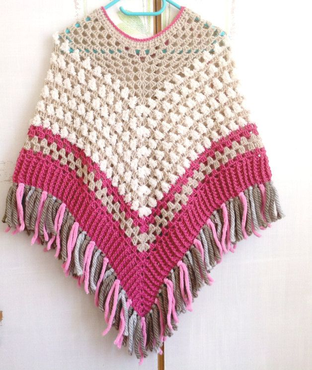 Girl poncho,multicolored hand crocheted warm summer poncho with ...
