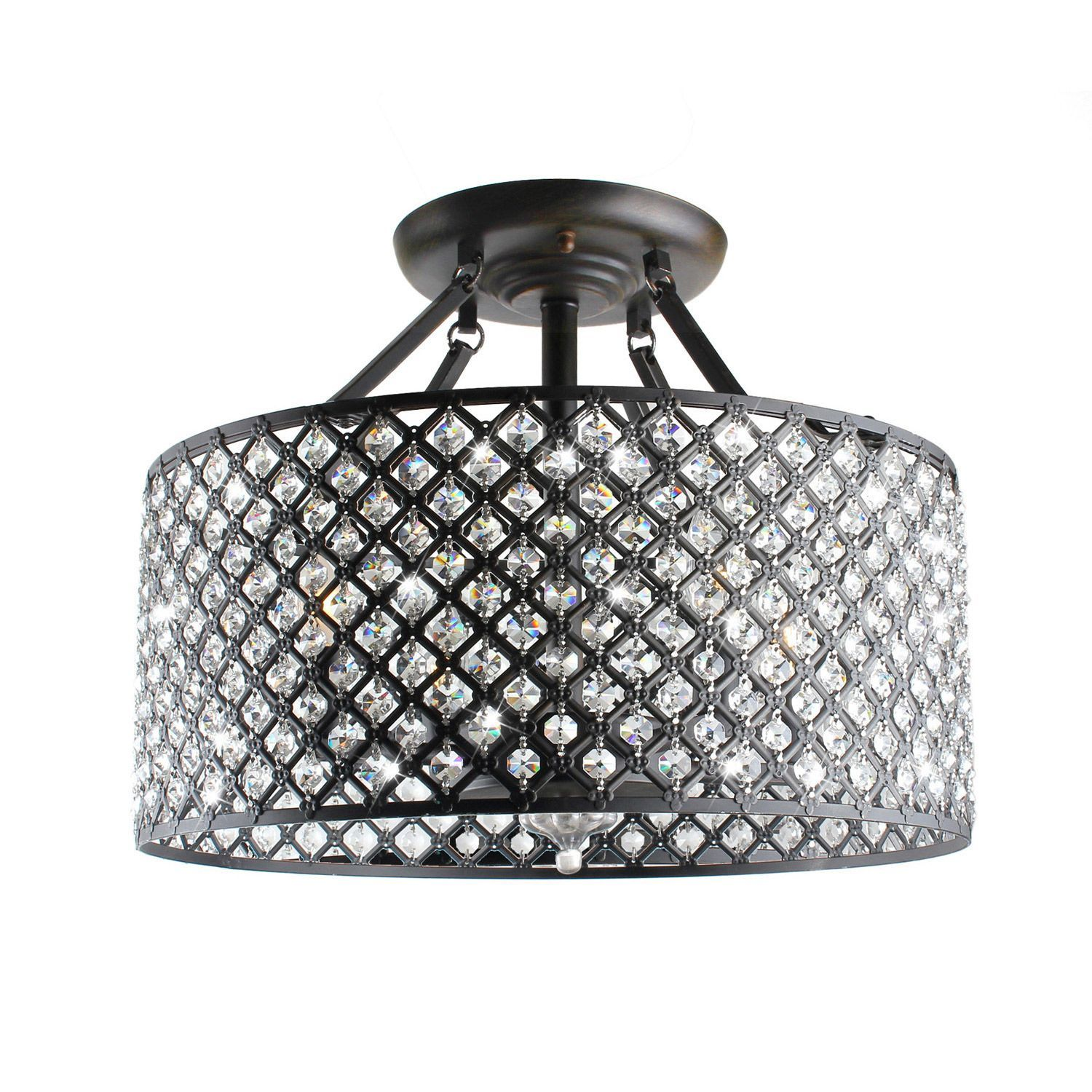 This chic round crystal chandelier will add a glitzy touch to your