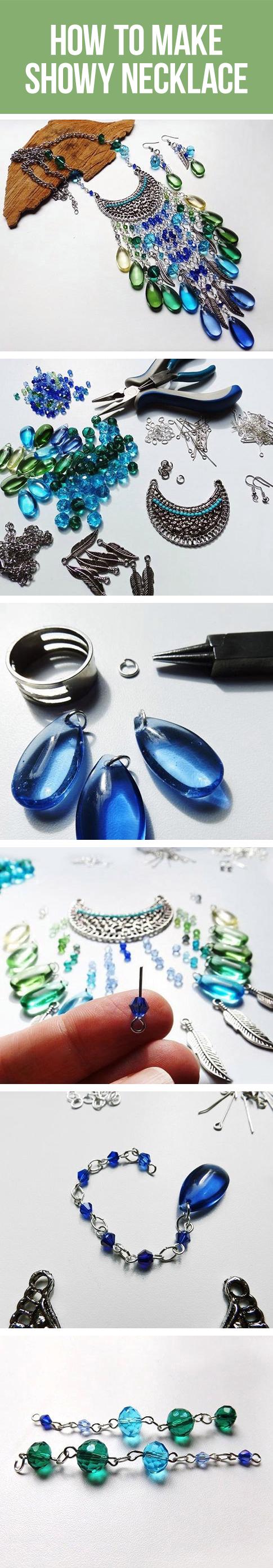 How to make showy necklace / Делаем эффектное колье и серьги (сборка украшений)