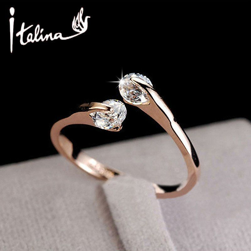 Italina CZ Diamond Jewelry Wedding Rings for women open 18K rose gold plated Crystal rings female anel bijoux top quality