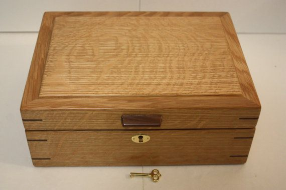Handcrafted Locking Box. Quarter Sawn White Oak. Jewelry, Keepsake or Secretary  Box. Self-Lifting Tray, Adjustable or Removable Dividers