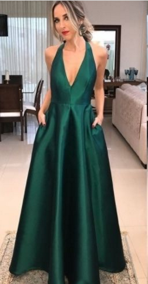 official price new authentic choose best A-Line V Neck Green Satin Prom Dress | prom | Simple prom ...