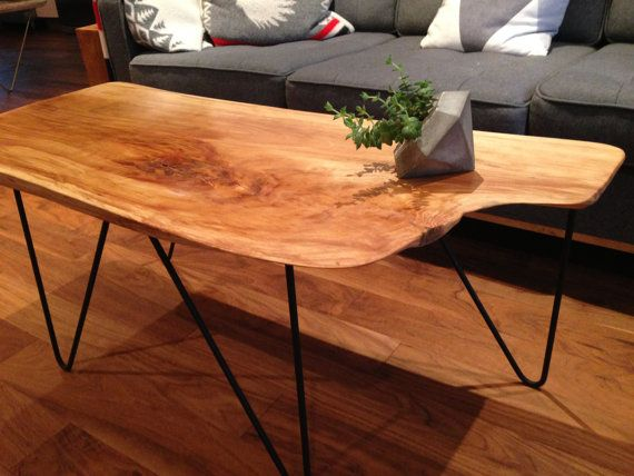 Live Edge Birch Coffee Table Mid Century Modern End Table