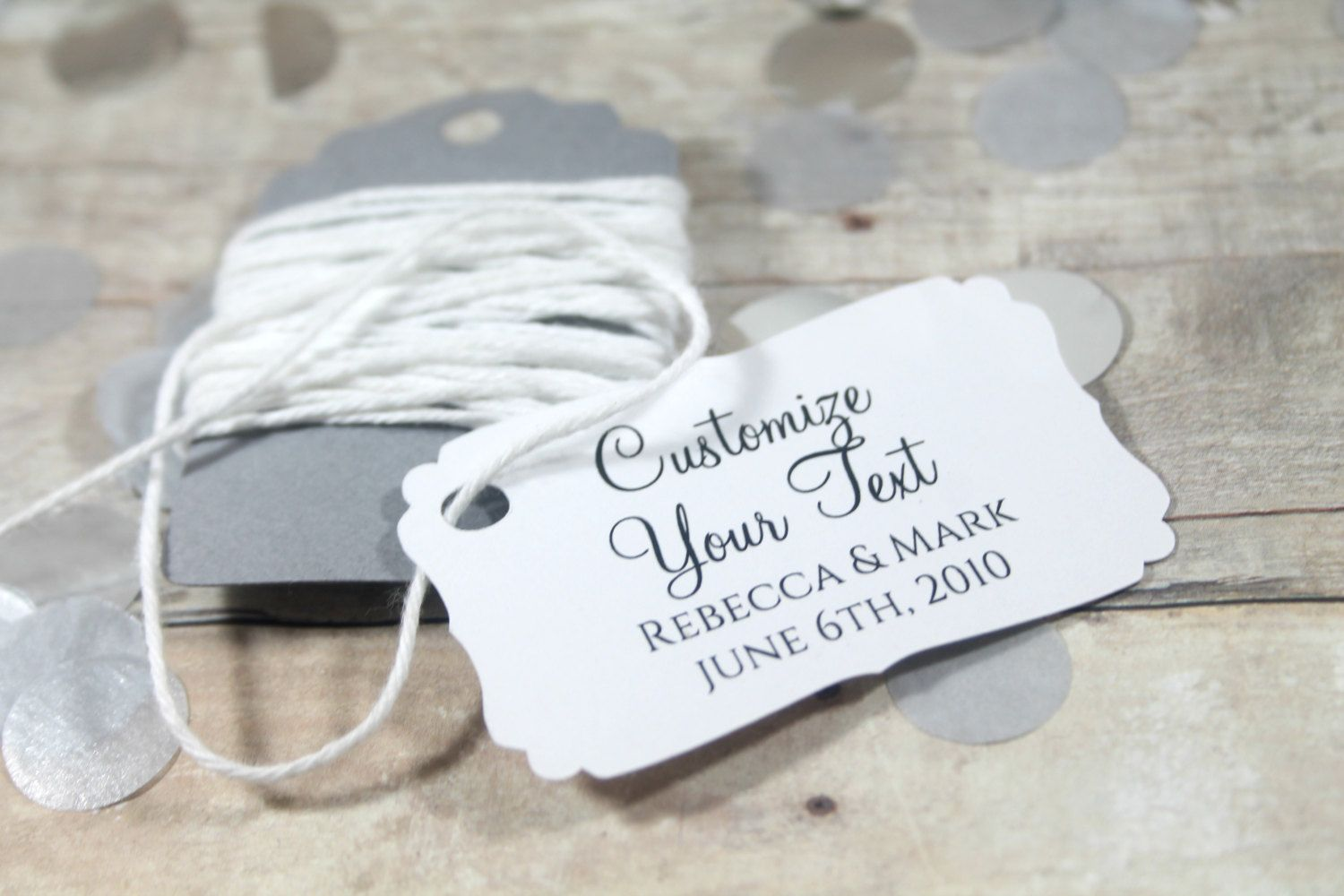 White Wedding Favor Tags set of 20 - Personalized Wedding Tags ...