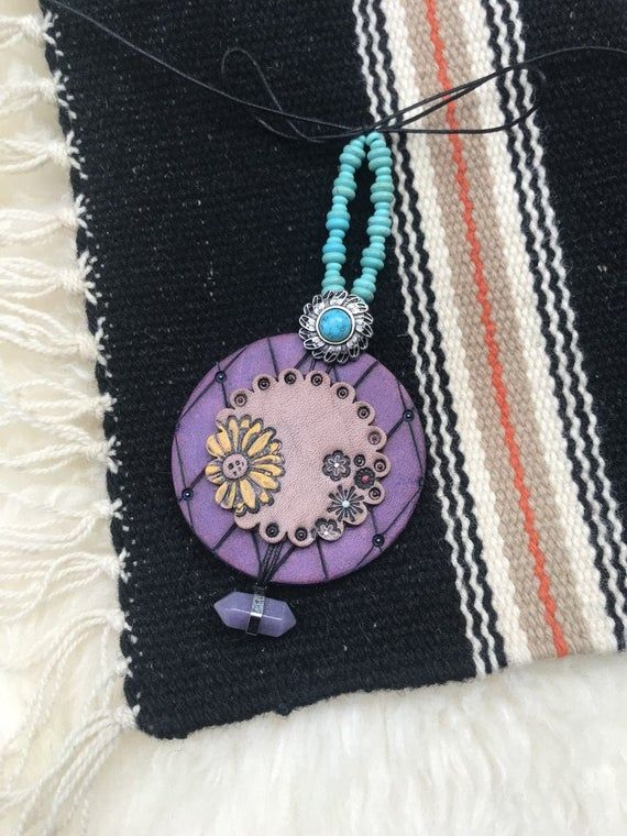 Photo of Tooled Leather Car Mirror Charm, Purple and Turquoise Mirror Pendant, Turquoise, Sunflower, Boho Cow