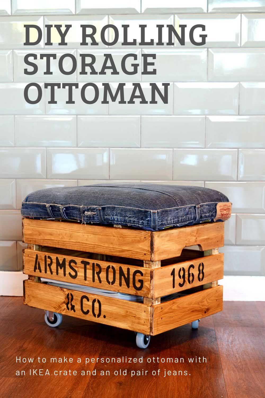 Nifty Denim DIY Storage Ottoman Crate an Ikea Hack in 2020 ...