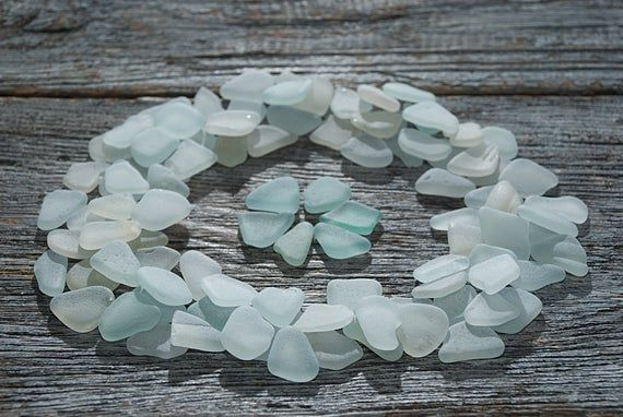 Photo of Small WHITE BLUE sea glass bulk 98pcs. Wedding perfect quality beach glass mix. Sea glass art crafti