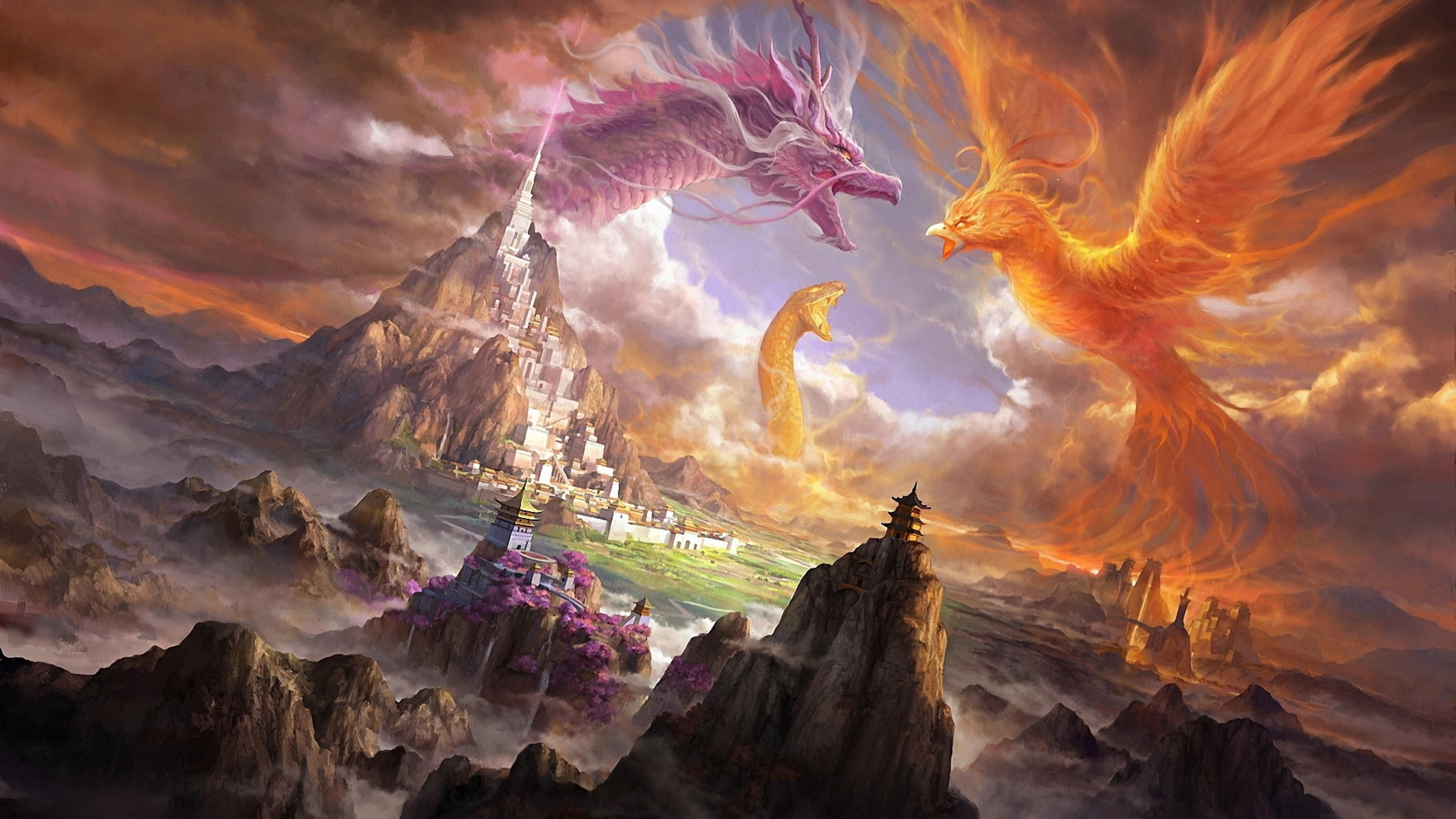 Art Phoenix Dragon Snake Digital Art Digital Castle Landscape Peaks 4k Wallpaper Hdwallpaper Desktop In 2020 Phoenix Dragon Snake Art Phoenix Wallpaper