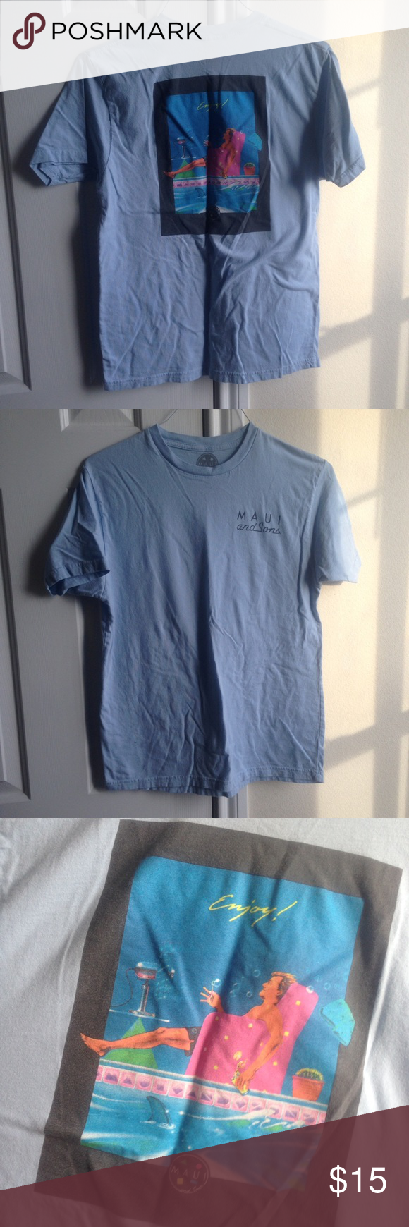 "Maui & Sons Light Blue ""Enjoy"" Poolside T-Shirt Mens medium. Fits a women's medium/large. Maui and Sons Shirts Tees - Short Sleeve"