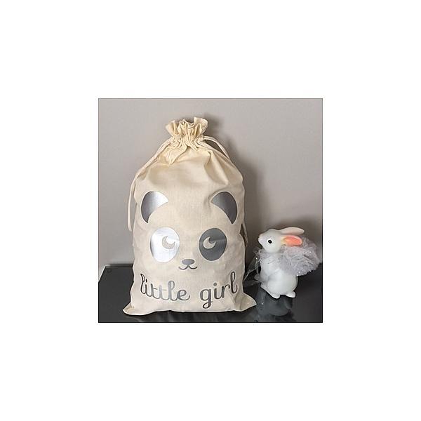 Sac pochon Panda Little Girl Argent Mon petit léonCadeau de naissance