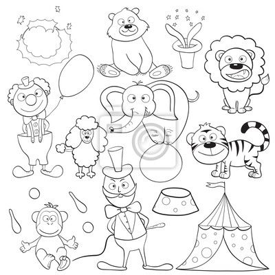 Outlined cute cartoon circus elements for coloring book. Description ...
