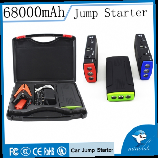 49.20$  Watch now - http://aliqug.worldwells.pw/go.php?t=32312419050 - Promotion Multi-Function Mini Portable Mobile Emergency Battery Charger Car Jump Starter 68000mAh Booster Starting Power Bank