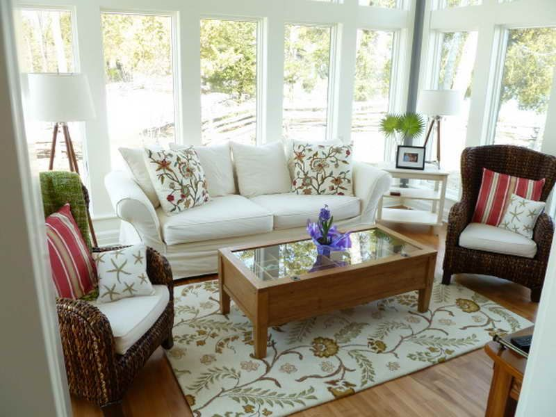Awesome White Themed Sunroom Design With Unique Twin Rattan Chairs Complete  With The Cushions And Rectangle Wooden Table On The Rug Also Soft White  Sofa ...
