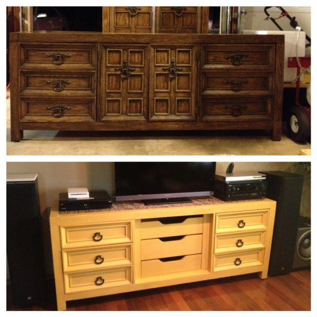 50 Cl Find Dresser Turned Into Entertainment Center Used Valspar Pirates Treasure And Valspar Translucent Mo Furniture Makeover Thrift Furniture Home Diy