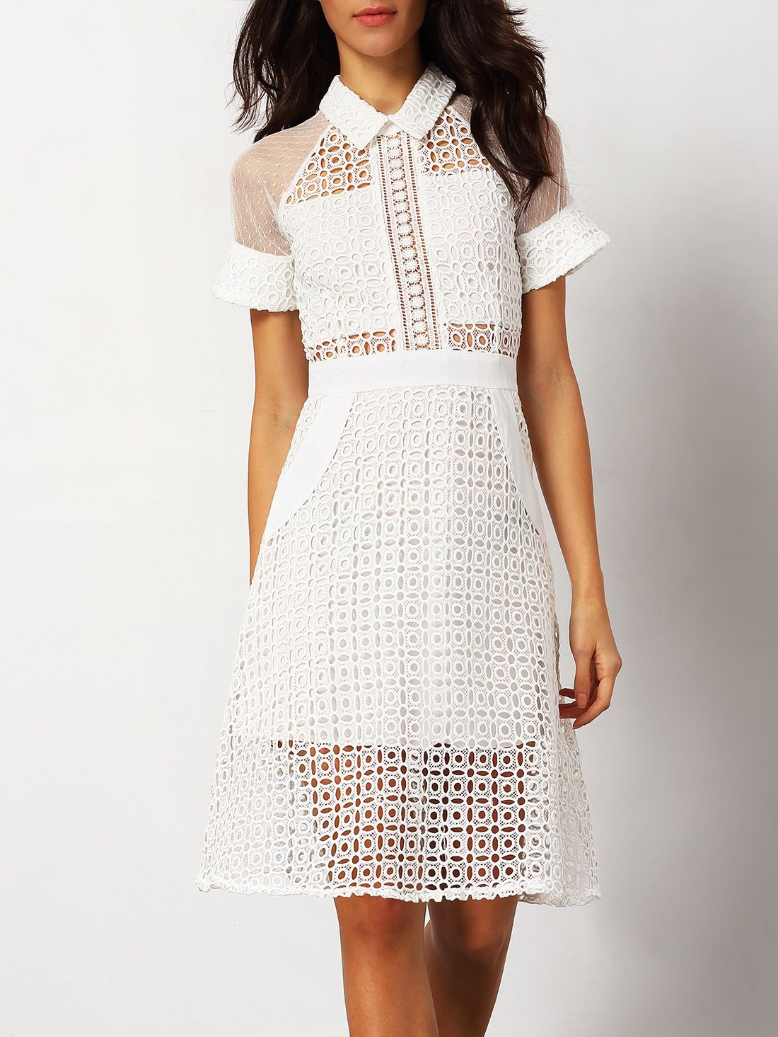 d9d9f1cbadd Shop White Short Sleeve Hollow Sheer Dress online. SheIn offers White Short  Sleeve Hollow Sheer Dress   more to fit your fashionable needs.