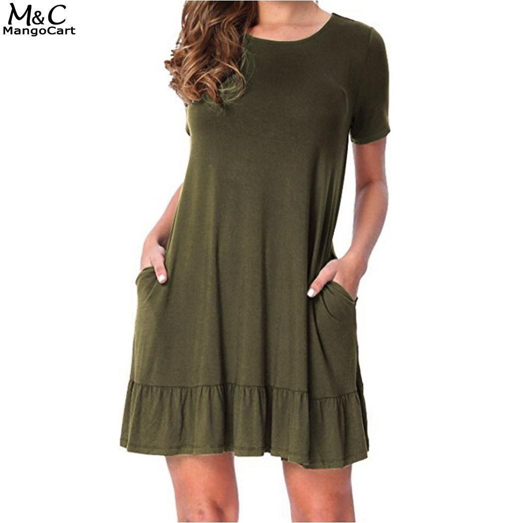 Fanala plus size casual dress women loose dress o neck short sleeve
