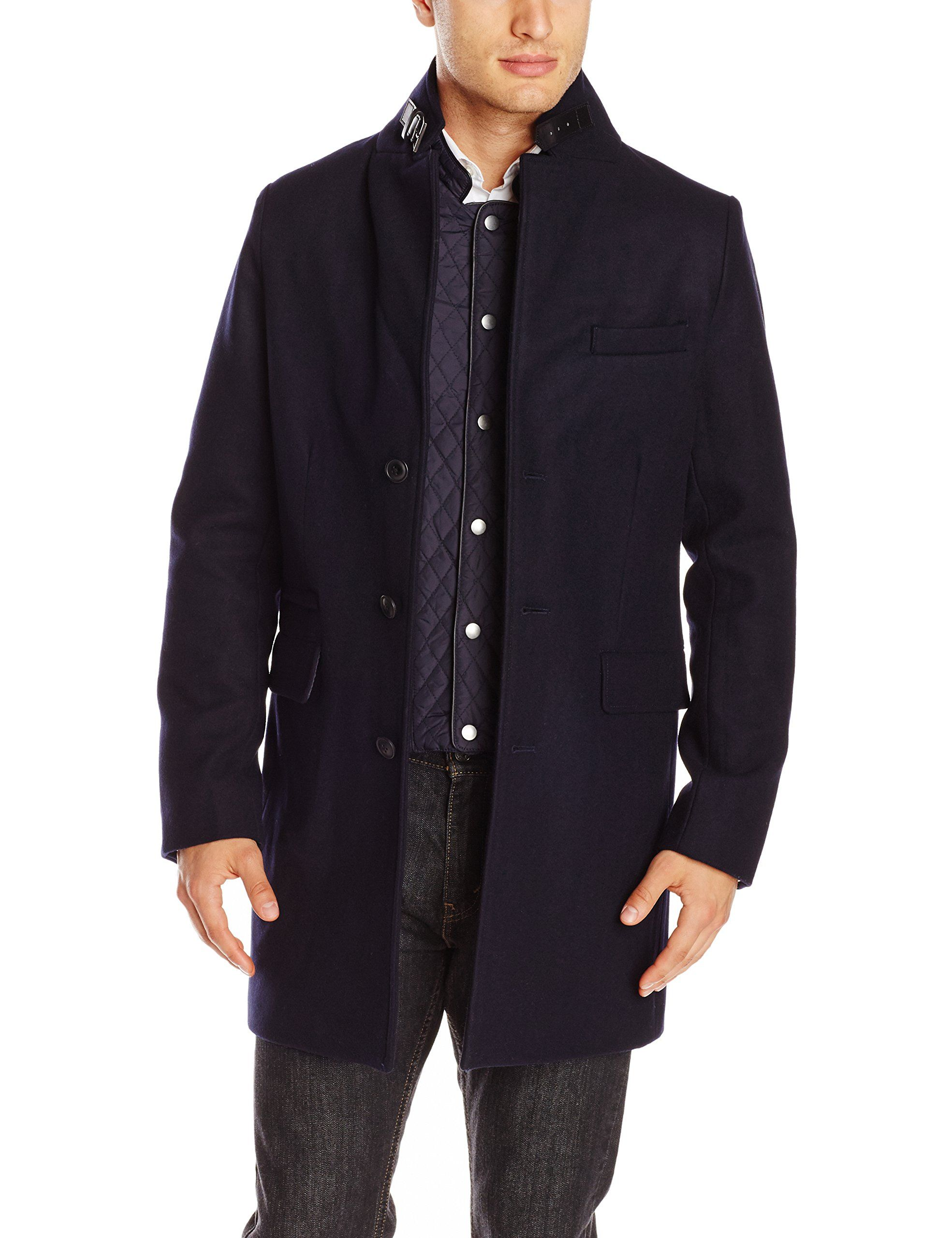 Elie Tahari Men's Modern Wool 37 Inch Topcoat with Quilted Nylon Bib, Midnight, Small