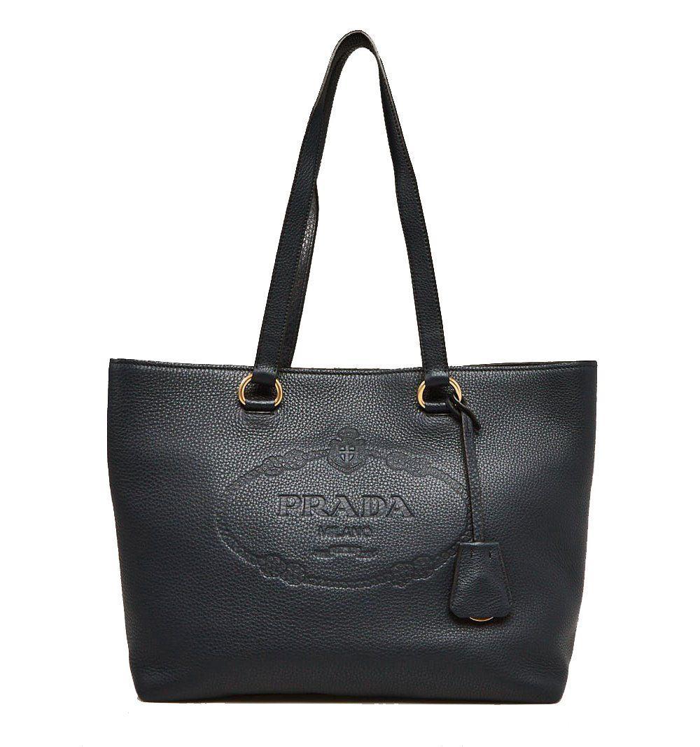 1822c3461a0f Prada Black Vitello Daino Calfskin Leather Shopping Tote Bag 1BG100 ...