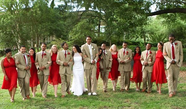 Very Similar To My Wedding Colors Love The Beige Suits With Poppy Red