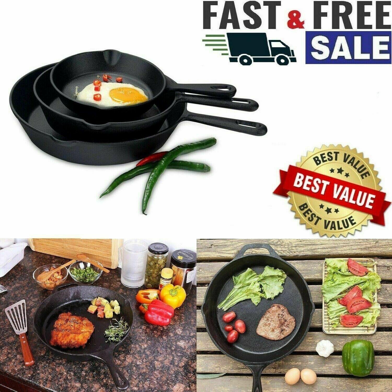Pre-Seasoned Cast Iron Skillet 3 Pack Set Stove Oven Fry Pans Pots Cookware Pan