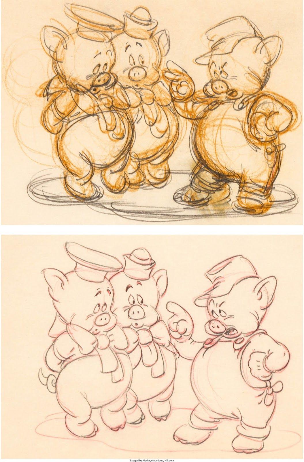 The Three Little Pigs Production Sketch And Clean Up Tatuaje De Cerdo Cerditos Dibujos